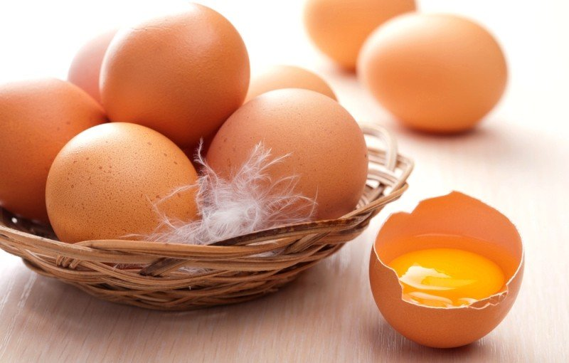 Яйцо в скорлупе и много яиц в корзинке