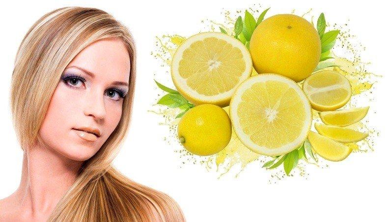 Девушка с красивыми волосами и лимоны