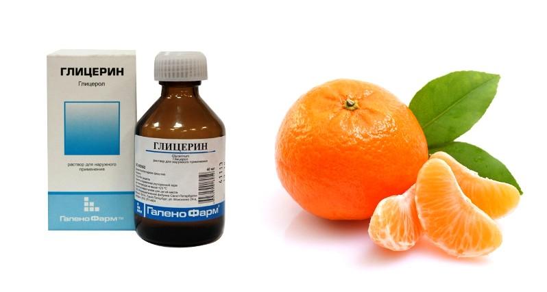 Флакон глицерина и мандарин