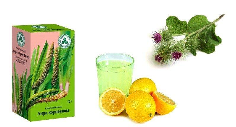Лимонный сок, репейник и аир