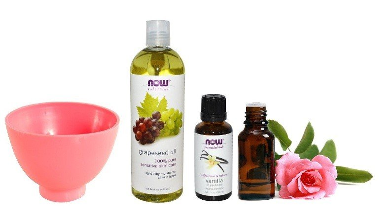 Масло виноградных косточек, ванили и розы, мисочка для масок