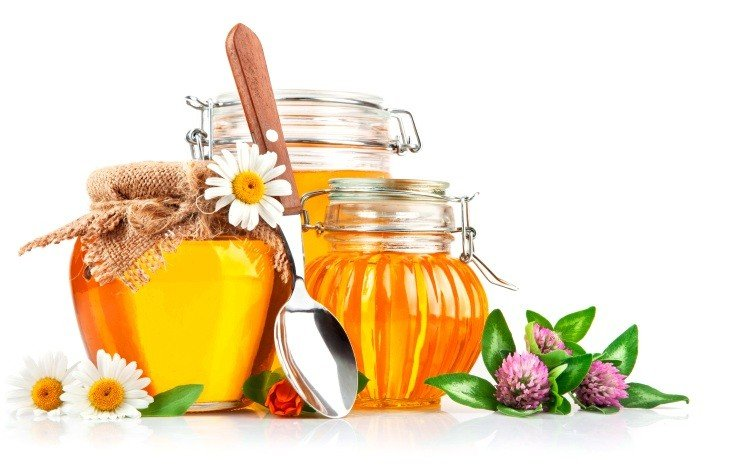 Мед, клевер, ромашка и ложка