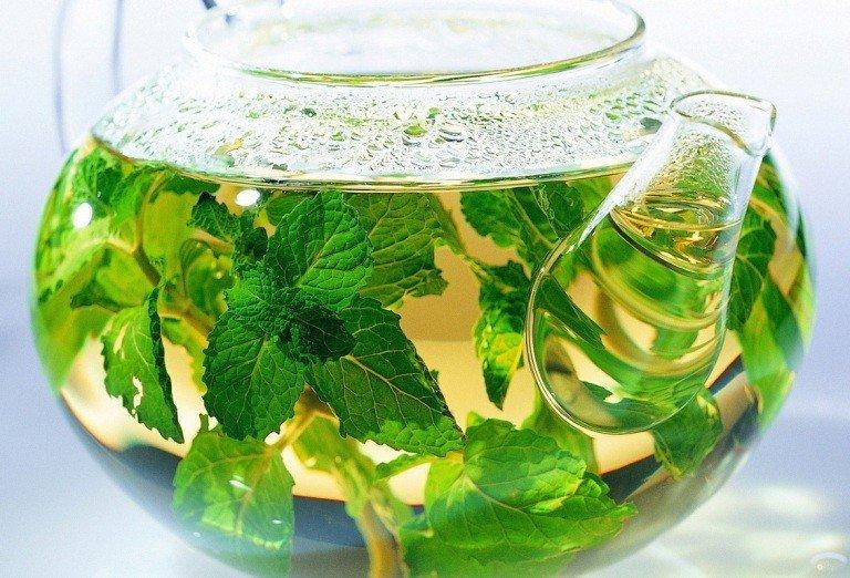 Травяной отвар в стеклянном чайнике