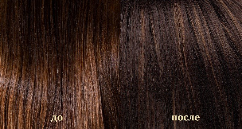 Результат окрашивания волос кофе