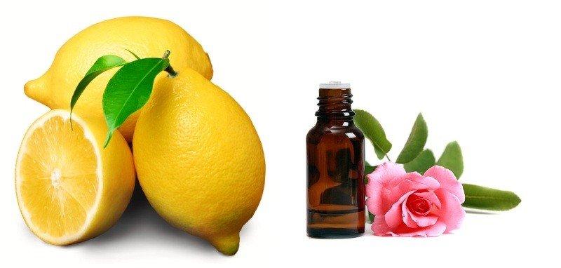 Лимон и эфирное масло розы