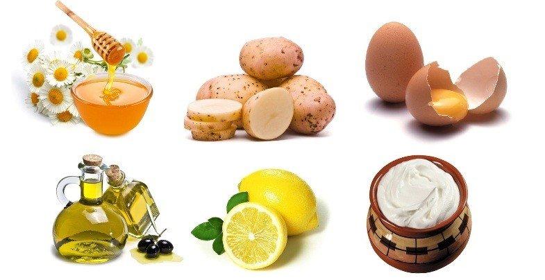 Мед, лимон, оливковое масло, картофель, сметана и желток