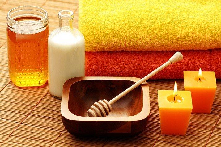 Мед и молоко для ванночек