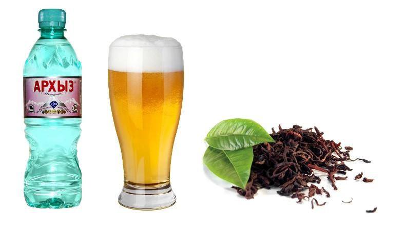 Минеральная вода, пиво и чай