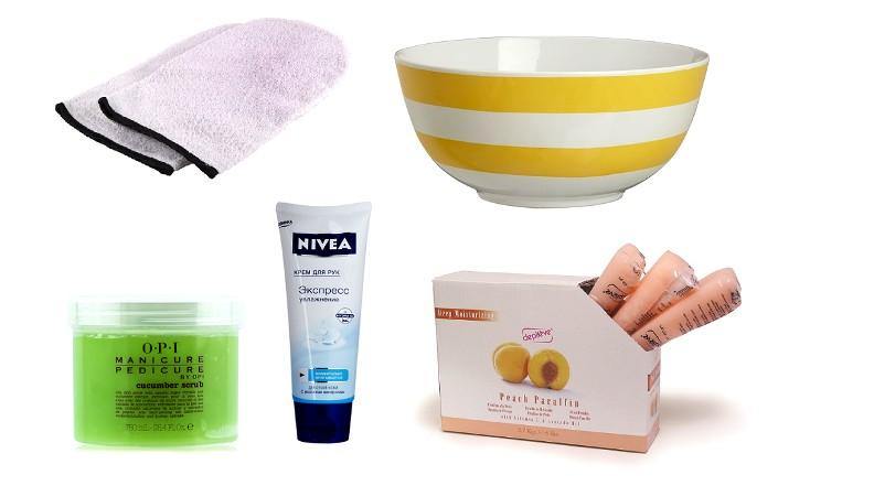 Набор необходимого для парафинотерапии рук: скраб, крем, парафин, емкость, варежки