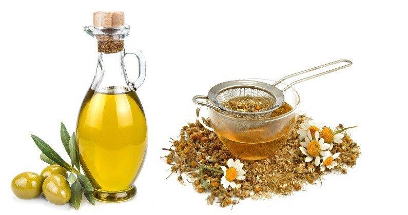 Оливковое масло и отвар ромашки