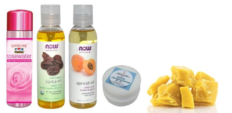 Ингредиенты для домашнего крема вокруг глаз: розовая вода, масла абрикоса и жожоба, бура, пчелиный воск