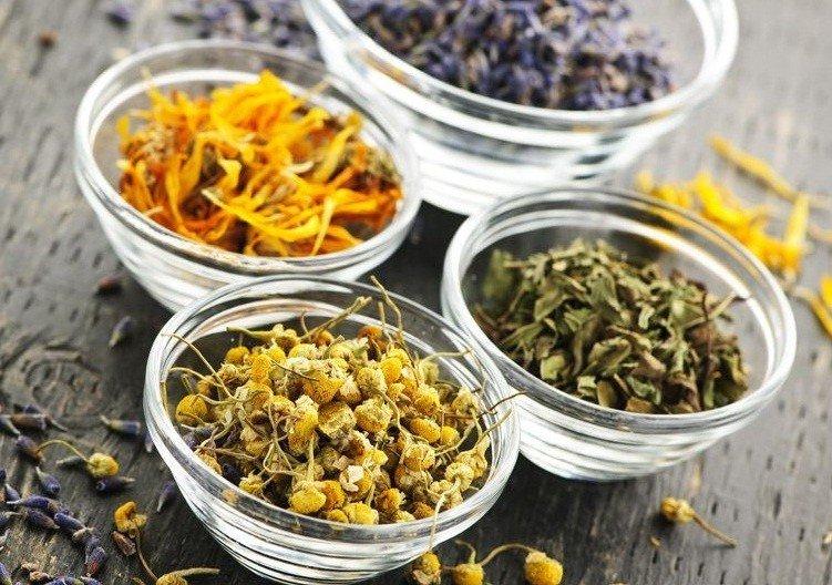 Сушеные травы для приготовления отваров для рук: ромашка, календула, шалфей
