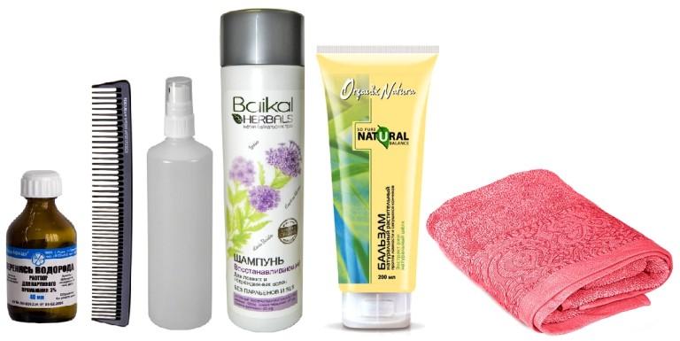 Перекись, расческа, флакон-пульверизатор, шампунь, кондиционер и полотенце