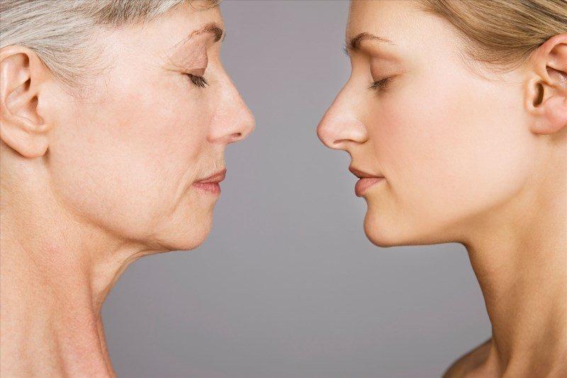 Лица женщин молодой и с увядащей кожей