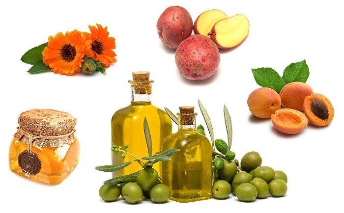 Оливковое масло, абрикосы, картофель, календула, мед