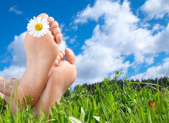 Стопы ног, трава, цветок ромашки, небо