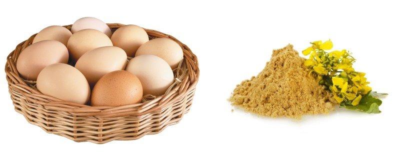 Горчица и яйца в корзинке