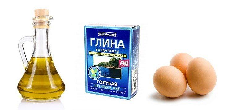 Масло, голубая глина и яйцо