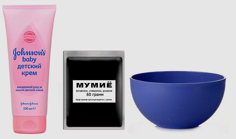 Детский крем, мумие и миска для приготовления масок