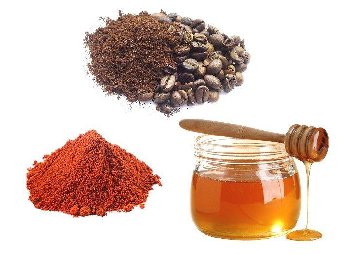 Кофе, мед и красный молотый перец