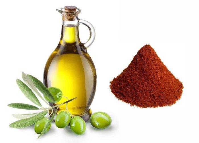 Красный перец и оливковое масло