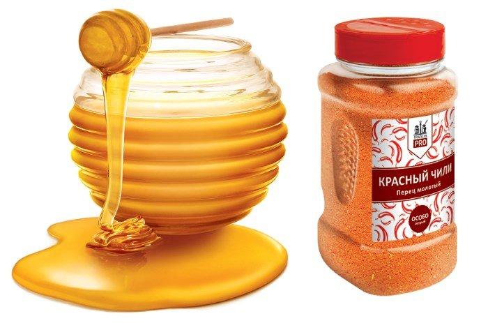 Мед и красный перец