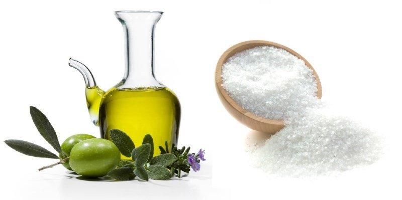 Оливковое масло и соль для скраба