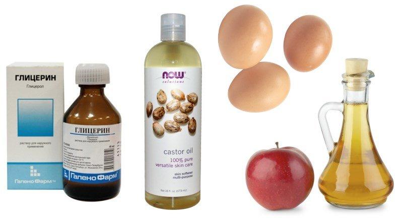 Глицерин, касторка, яблочный уксус и яйцо