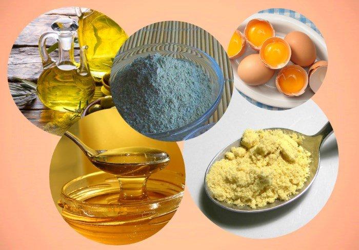 Компоненты маски: глина, мед, горчица, масло и желток