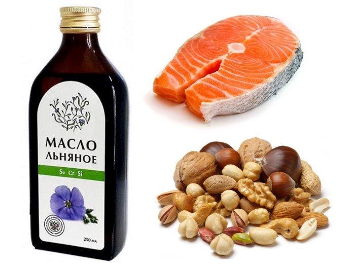 Источники Омега-3 кислот: льняное масло, лосось, орехи