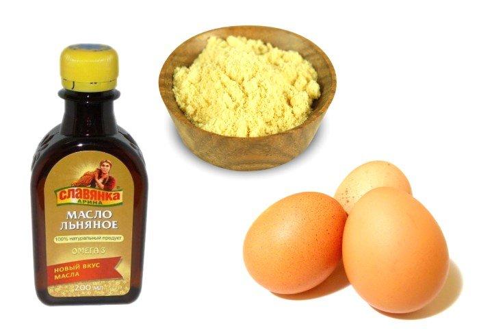 Компоненты маски для волос: яйцо, горчица и льняное масло