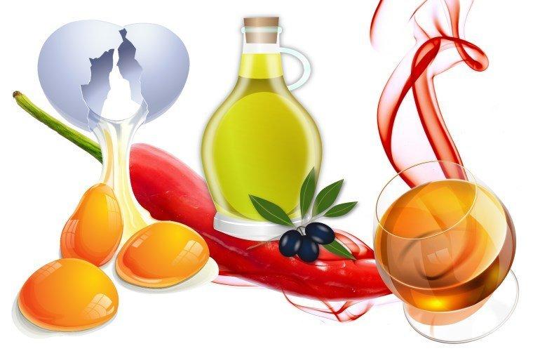 Компоненты маски для волос: яйцо, масло, красный перец и коньяк