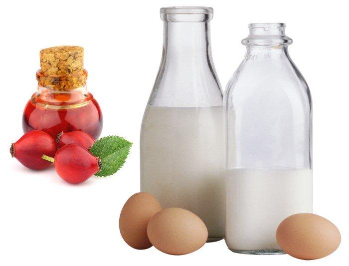 Компоненты маски для волос: масло шиповника, кефир и яйца