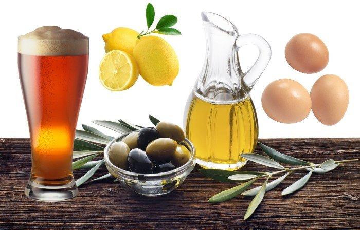 Оливковое масло, пиво, желток и лимон