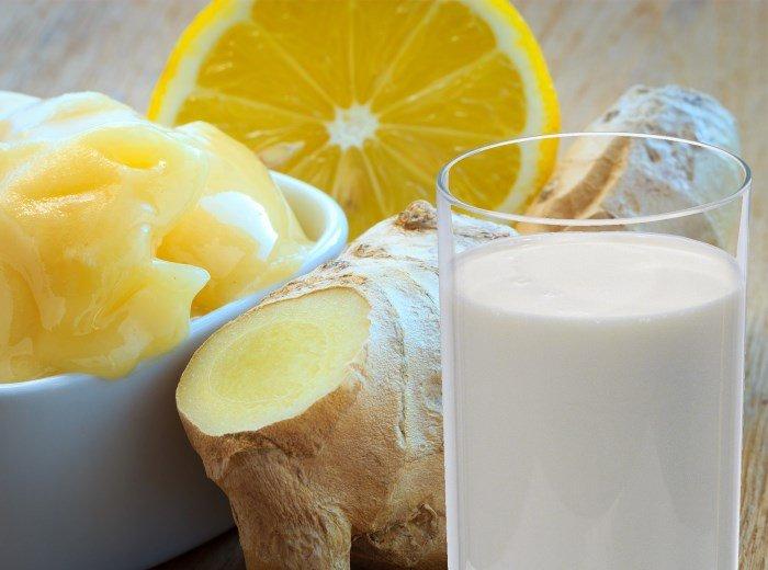 Мед, имбирь, кефир и лимон