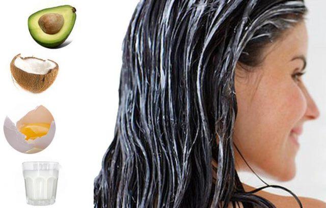 Девушка с нанесенной маской на волосы